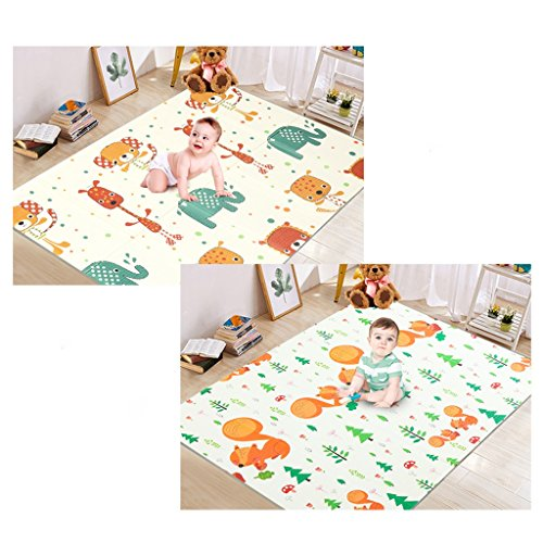Fenfen Baby Crawling Mat XPE Green Bedroom Baby Climbing Pad Double-sided Floor Mat Children's Play Mat, 1801201cm (Color : 2) (Mat Baby Sided Double)