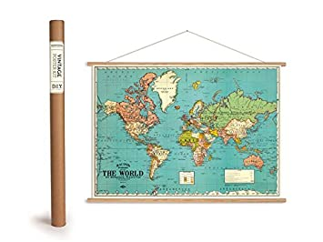 Vintage world map poster with wood slats frame and string vintage world map poster with wood slats frame and string counted cross stitch gumiabroncs Images