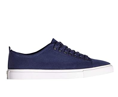 4629f30eb174c Brooks Brothers Men s Cotton Canvas Rubber Sole Simple Sneakers Blue (US 9  ...