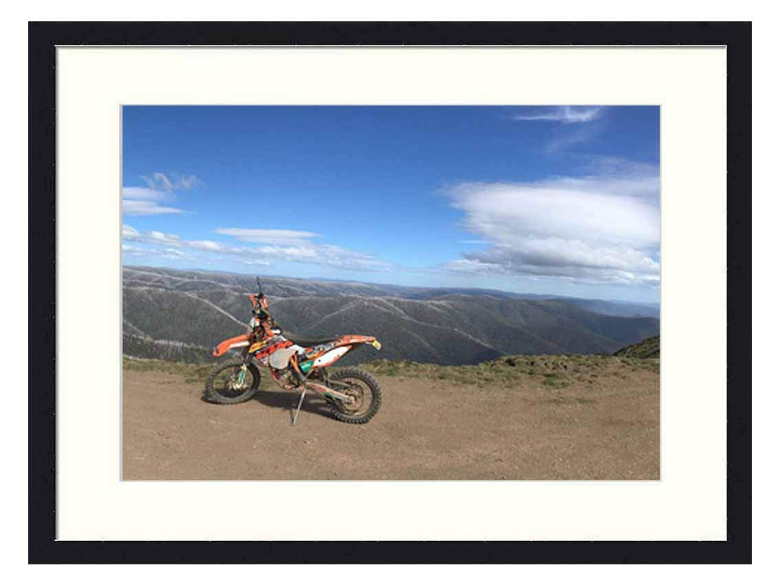 Wall Art Print Solid Wood Framed for Home Decor and Office (20x14 inches)-Australia Snowy Mountains Victoria KTM Enduro