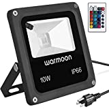 Warmoon Outdoor LED Flood Light 10W RGB Color Changing Waterproof Security Wall Washer Lights with US 3-Plug & Remote Control for Garden Home Yard Hotel Pathways