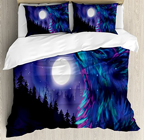 Ambesonne Moon Duvet Cover Set King Size, Northern Imagery with Aurora Borealis Wolf Spirit Magical Forest Starry Night, Decorative 3 Piece Bedding Set with 2 Pillow Shams, Indigo Aqua Magenta ()