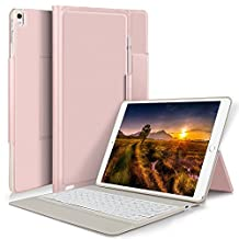 Apple ipad pro 12.9 2017/2015 keyboard, KuGi Apple ipad pro 12.9 2017 Case With Keyboard Ultra-Thin Bluetooth Keyboard Stand Case / Cover + Pencil holder for Apple ipad pro 12.9 2017-inch 2017 Version Tablet (rosegold)