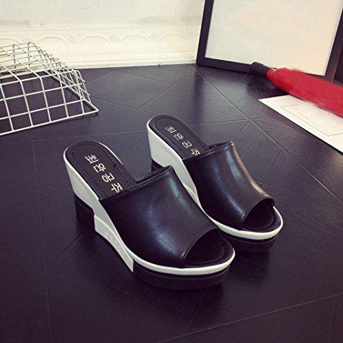 Schwarz Outdoor Heels﹛Roman Peep Flops Hausschuhe High Party Wildleder Ankle TPulling Schuhe Sandalen﹜Plattform Damen﹛Flip Sommer Toe﹜Sandalen Lässige a0TwaZvq
