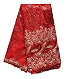 SanVera17 African Lace Net Fabrics Nigerian French Fabric Embroidered and Beading Guipure Cord Lace for Party Wedding (red) 5 Yards us-fabric-021-1