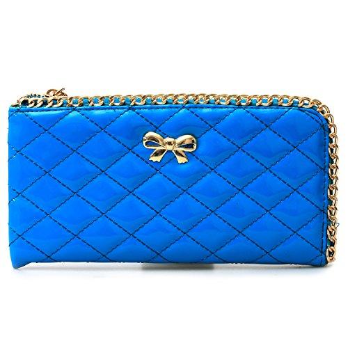 Women's Genuine Pu Leather Bowknot Purse Organizer Wallet Zippered Clutch Card Holder Blue