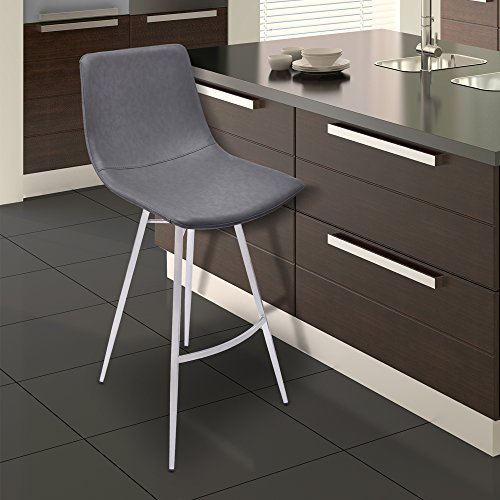 """Armen Living LCATBAVGBS26 Athens 26"""" Counter Height Barstool in Vintage Grey Faux Leather and Brushed Stainless Steel Finish"""