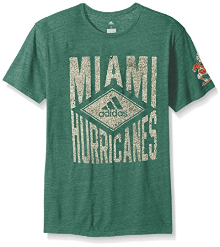 - adidas NCAA Miami Hurricanes Adult Men Diamond Mine Tri-Blend S/Tee, Large, Dark Green Heathered