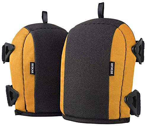 BESKAR Knee Pads - Flooring KneePads with Soft Foam Padding, No-Slip Leather & Strong Double Straps, Adjustable Easy-Release Slip-Clips Great for Working Roofing Cleaning and Garden - Yellow