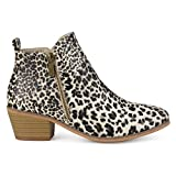 Brinley Co. Womens Faux Leather Stacked Heel Side Zip Booties Leopard, 8 Regular US