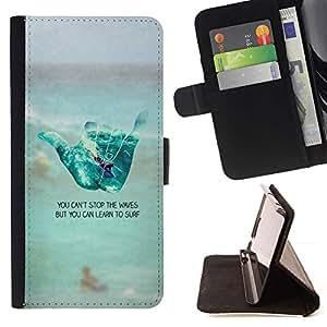 Momo Phone Case / Flip Funda de Cuero Case Cover - Inscrivez Surf Mec Plage texte - Samsung Galaxy A5 ( A5000 ) 2014 Version