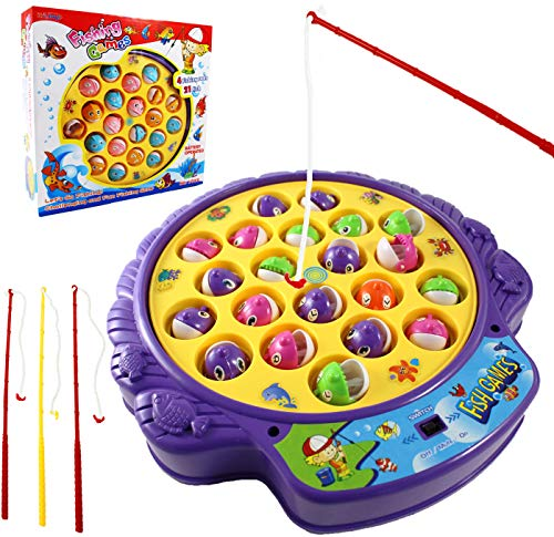 - Haktoys Fishing Game Toy Set with Single-Layer Rotating Board | Now with Music On/Off Switch for Quiet Play | Includes 21 Fish and 4 Fishing Poles | Safe and Durable Gift for Toddlers and Kids