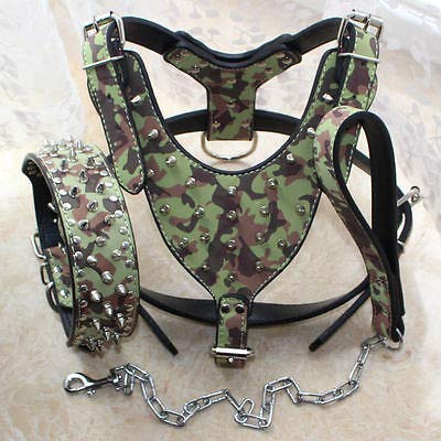 Camouflage Medium 17-20\ Camouflage Medium 17-20\ FidgetGear Large Spiked Leather Dog Harness Studded Collar Leash Lead Set Pitbull 26-34  Camouflage Medium 17-20