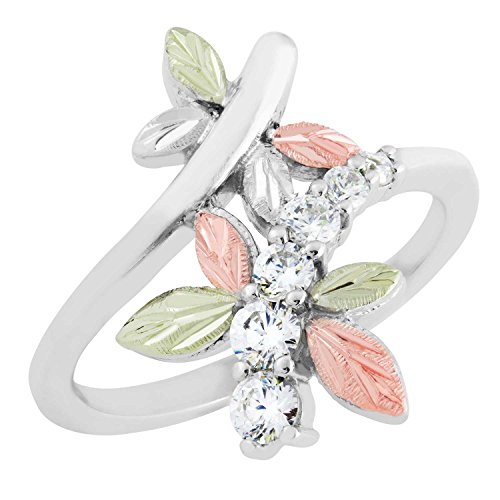 6-Stone CZ Dragonfly Ring, Sterling Silver, 12k Green and Rose Gold Black Hills Gold Motif, Size 9 by Black Hills Gold Jewelry