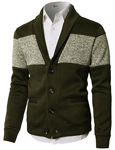 (H2H Men's Big and Tall Cable Solid 1/4 Zip Sweater Cardigan Olive US S/Asia M (CMOCAL010))