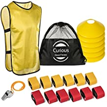 Flag Football Set & Referee Kit 12 Player 3 Flags per Belt 36 Heavy Duty Flags 6 Large Cones & 2 Carry Cases Equipment For Kids Youth Adult