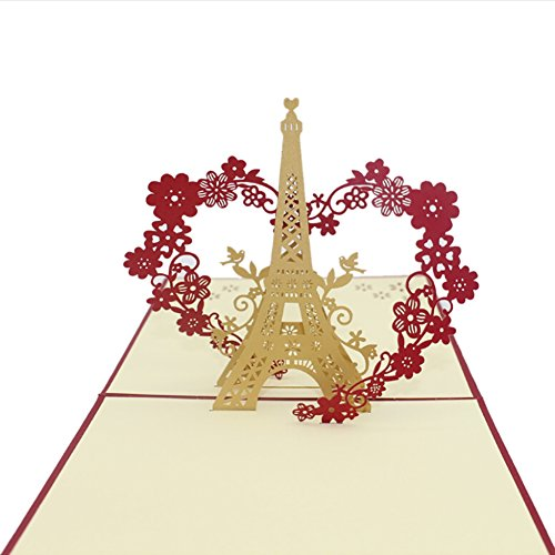UmayBeauty 3D Pop Up Greeting Card with Envelope Famous Scenic Spots -Eiffel Tower & Heart ()