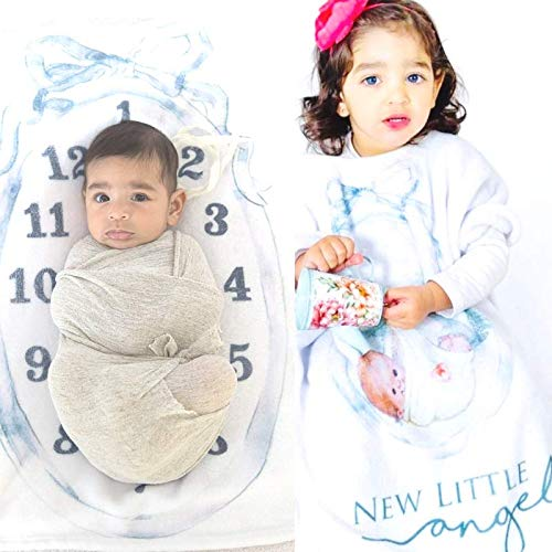 Baby Monthly Milestone Blanket for Boy Girl,Extra Wide Neck Wearable 0-3 yrs Personalized 2in1 Receiving Photography Blankets, Thick Fleece for Mom Newborn Baby Shower Gifts + Frame Ribbon