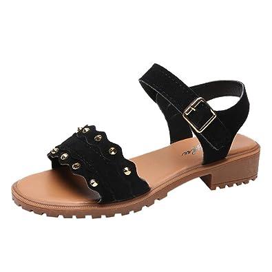 7e70759d58 Ladies Sandals Jamicy Block Heel Sandals Women Summer Rivets Suede Leather  Hook Loop Low Heel Shoes