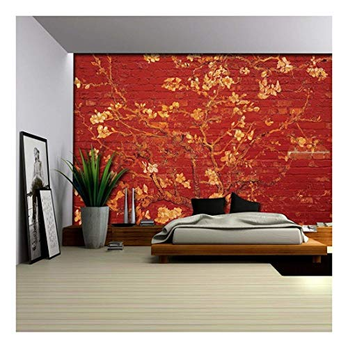 Gold Almond Blossom Painting by Vincent Van Gogh on a Bright Red Brick Wall Wall Mural