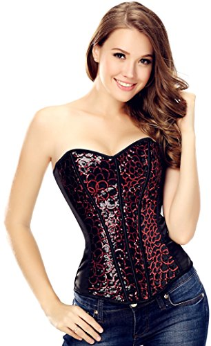 Glitter Corset (Women's Shiny Sequin Sparkle Glitter Erotic Halter Neck Corset Top L Red)