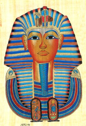 Egyptian Hand-Made Papyrus Painting - Mask of Tutankhamun Crown Lower Egypt