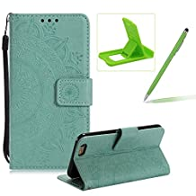 Strap Leather Case for iPhone SE,Mint Green Wallet Cover for iPhone 5S,Herzzer Classic Retro Pretty Mandala Flower Embossed Magnetic Closure Stand Shockproof Flip PU Leather Back Case with Soft Silicone