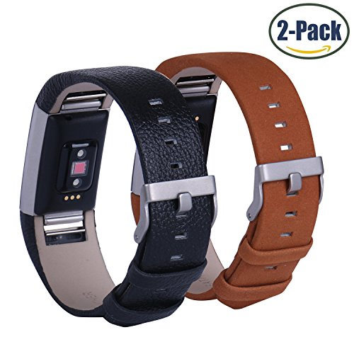Hotodeal Genuine Leather Bands for Fitbit Charge 2, Comfortable Replacement Accessory Watchband, Pack of 2 (Black+Classic (Mens Dress Up Outfits)