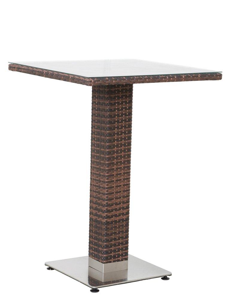 Siena Garden 506468 Bartisch Kuba, Aluminium-Untergestell, Gardino-Geflecht maron, Glasplatte klar, Edelstahl-Fuß, 80 x 80 x 110.5 cm
