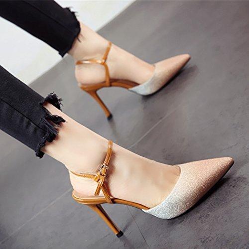 tacco poco di bocca sandali sottile e stile profonda alto alto FLYRCX scarpe Tacco scarpe Europeo tacco Golden YARnwq1
