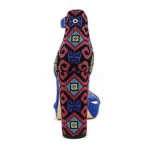 Talla Nine Sandalias West Piso De Mujeres Blue w4X7x14r