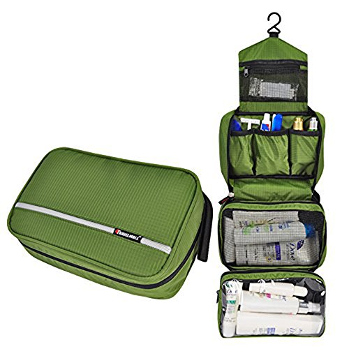 Travel Toiletry Bag Business Toiletries Bag for Men Shaving Kit Waterproof Compact Hanging Travel Cosmetic Pouch Case for Women Army Green by Relavel