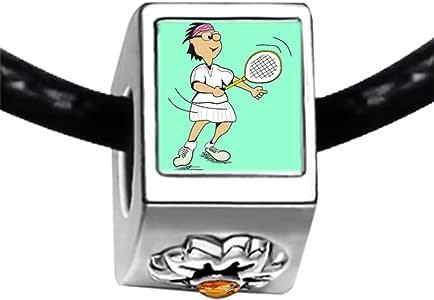 Chicforest Silver Plated Olympics Badminton cartoon Photo Topaz Crystal November Birthstone Flower Charm Beads Fits Pandora Charms