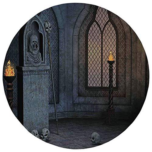 Round Rug Mat Carpet,Gothic Decor,Gothic Scenery Mystical Spooky Moonlight Darkness Skulls Ghost Story Art Decorative,Flannel Microfiber Non-Slip Soft Absorbent,for Kitchen Floor Bathroom