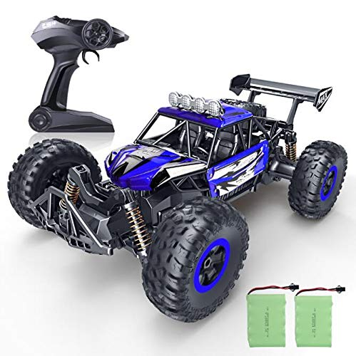 (RC Car, SPESXFUN Newest 2.4 Ghz High Speed Remote Control Car 1/16 Scale Off Road RC Trucks with Two Rechargeable Batteries, Racing Toy Car for All Adults & Kids(Blue))