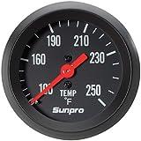 Sunpro CP8217 StyleLine Mechanical Water/Oil Temperature Gauge - Black Dial