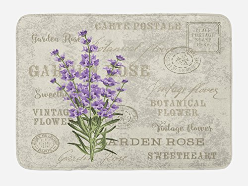 Lunarable Lavender Bath Mat, Vintage Postcard Composition with Grunge Display and Flowers, Plush Bathroom Decor Mat with Non Slip Backing, 29.5