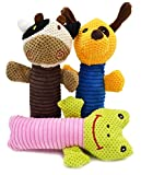 3 Pack Dog Chew Toys - Durable Corduroy Fabric Dog Squeaky Chewing Toys - Dental Teeth Cleaning Training Playing for Small Medium Large Dogs-Cute Animal Puppy Calf Frog