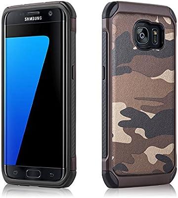 Carcasa Galaxy S7 Edge, JAMMYLIZARD Funda Resistente Diseño Camuflaje [ Army ] TPU Heavy Duty Case Cover Para Samsung Galaxy S7 Edge, MARRÓN