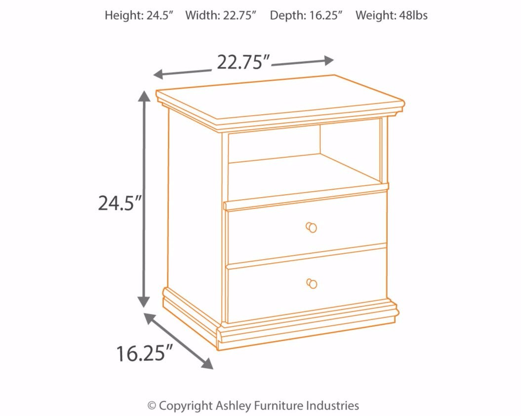 Ashley Furniture Signature Design - Maribel Nightstand - 1 Drawer and 1 Cubby - Vintage Casual - Black