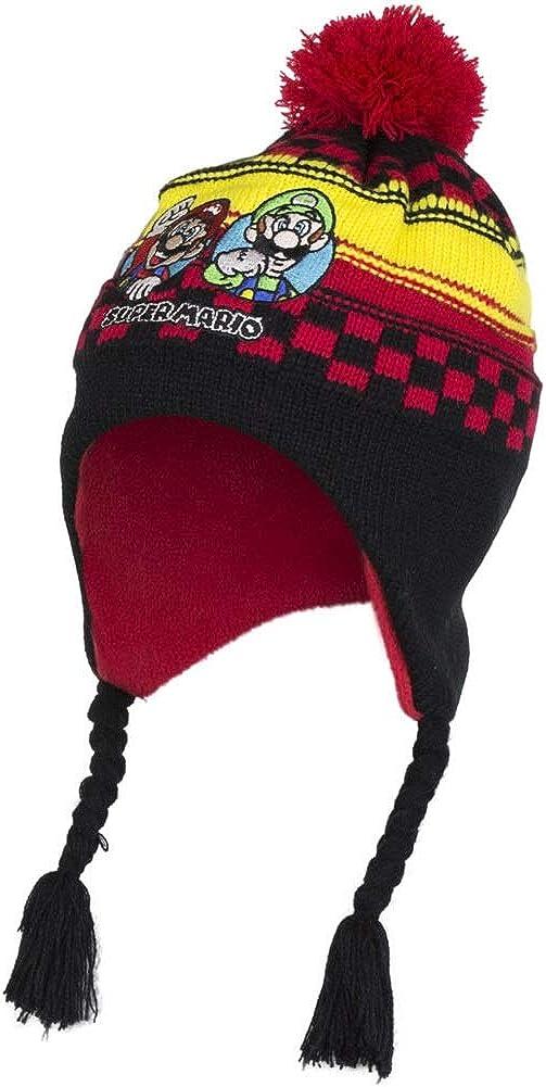 Boys Kids Mario Sonic Winter Hat Glove Set 4 5 6 7 Years Fleece Cold Weather Gear