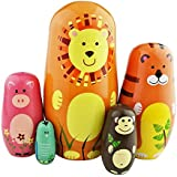 Lovely Colorful Animals Theme Handmade Matryoshka Wishing Dolls Mother's Day Gifts Russian Nesting Dolls Set 5 Pieces Wooden Kids Gifts Toy