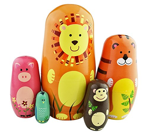 Lovely Colorful Animals Theme Handmade Matryoshka Wishing Dolls Mother's Day Gifts Russian Nesting Dolls Set 5 Pieces Wooden Kids Gifts Toy -