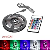 Gaddrt 200CM 60LED/meter USB LED Strip Light TV Back Lamp 2835RGB Colour Changing with 24 Key Remote Control (F)