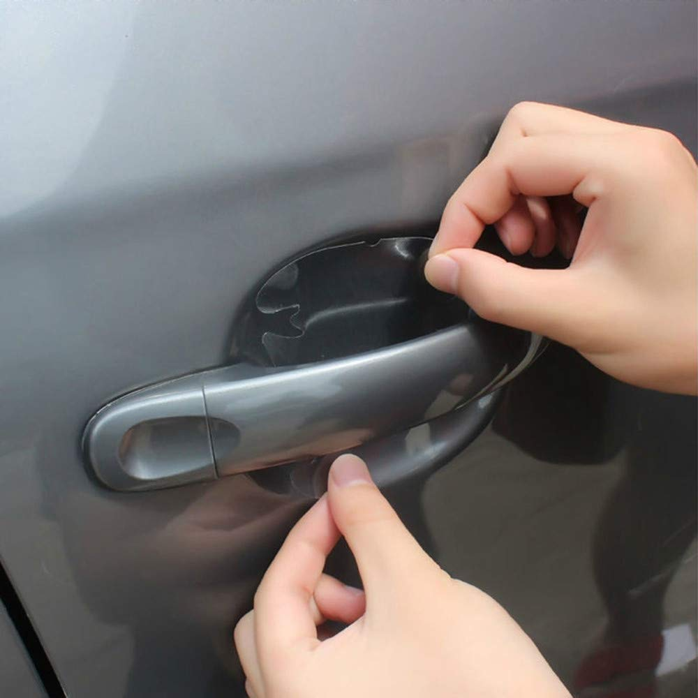 Ecosin 4 pcs Invisible Clear Car Door Handle Protector Film Scratch Guard Cover Sticker