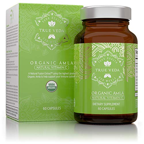 Organic Amla Vitamin C Capsules - USDA Organic Certified | Whole Food Plant Based Vitamin C | Amalaki Supplement | Avoid Synthetic Ascorbic Acid | Antioxidant Rich Alma | Ayurveda | 60 Pills (Vitamin E Tablets For Hair In India)