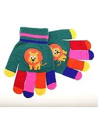 Childrens/Kids Animal Design Winter Magic Gloves (One Size) (Green (Lion))