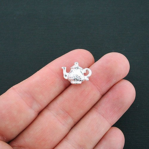 Charm - 4 Teapot Charms Silver Plated 3D - SC4407