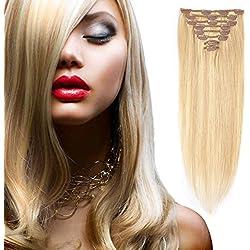 "Clip in Human Hair Extensions 20"" #18/613 8 Pieces 18 Clips Straight Hair Extensions Grade 7A Full Head Virgin Hair Extensions (20inch-85g, 18/613 light Ash Blonde Mix Blonde) Lakihair"