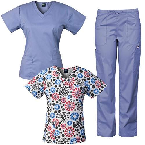 Medgear 3-Piece Eversoft Stretch Scrubs Set With Printed Top Combo 7895ST
